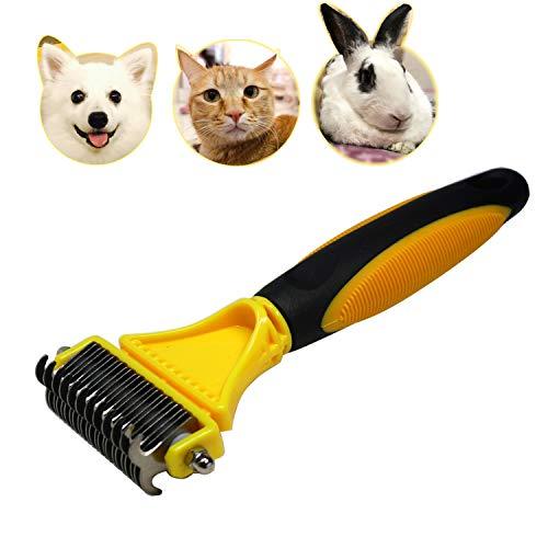 Fellkamm für Katzen und Hunde, 2-seitiger Unterwolle, sicheres Pflegewerkzeug für einfache Matten...