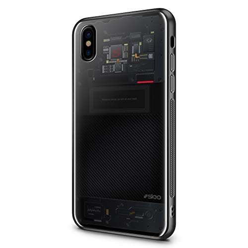 SLEO Custodia per iPhone X/iPhone XS, Cover per iPhone X/iPhone XS Coperchio Posteriore in Vetro Temperato[TPU + Vetro Temperato] Guscio di Protezione del Telefono - Schema del Circuito