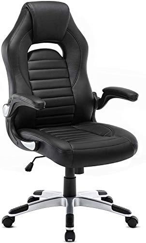 Intimate WM Heart Ergonomischer Gaming Stuhl, Hochverstellbarer Computerstuhl, Bürostuhl aus Kunstleder 360 Grad drehbar, Schreibtischstuhl 150KG Belastbarkeit (Black)