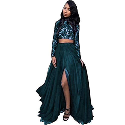 CCBubble Two Piece Prom Dresses High Neck Long Sleeves Lace Prom DressCXY573-Teal2