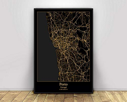 Impresión De Lienzo, Porto Portugal, Mapas De Luz De La Ciudad Negros Y Dorados, Carteles De Mapas De Ciudades Del Mundo Personalizados, Impresiones En Lienzo, Arte De Pared De Estilo Nórd,60X90Cm