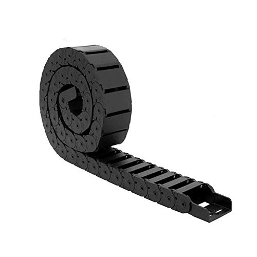 Sunhokey 15x15mm 1-Meter Black Plastic Flexible Drag Chain Cable Wire Carrier Nested Semi Colsed Twist Chains for 3D Printer and CNC Machines (Inside Open) (15x15mm)