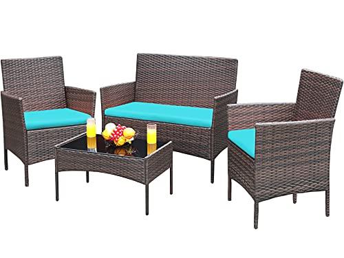 Greesum 4 Pieces Patio Outdoor Rattan Furniture Sets, Wicker Chair Conversation Sets, Garden...