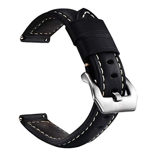 Correa de Cuero de liberación rápida para Relojes Digitales y analógicos, Correas de Reloj Vintage para Hombres y Mujeres Tamaño 20 mm 22 mm 24 mm con Cinturones Negros, marrón Claro y marrón Oscuro