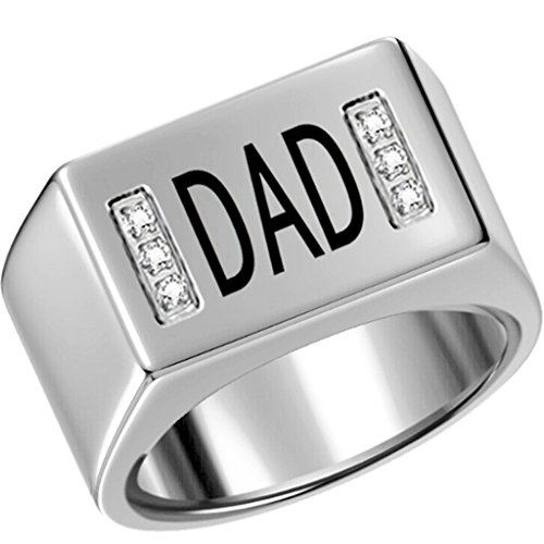 Size 7-15 Stainless Steel Dad Father Ring Signet Cubic Zirconia Cocktail Graduation Wedding Anniversary (S)