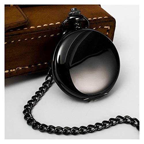 Moonlight Star Suave Retro Reloj de Bolsillo de Plata Negro Hombres de Cuarzo Polaco Fob Relojes de Bolsillo Pendiente con la Cadena (Color : Negro)