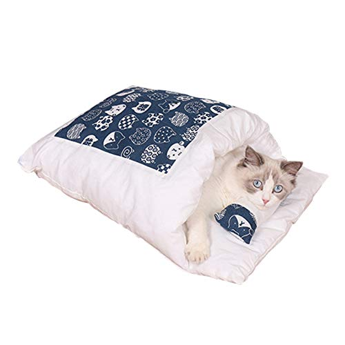 An-self Katzenschlafsack Katzenbett Winter Geschlossen Abnehmbare Katzenhöhle Warm Kuschelsack für Katzen und Welpen