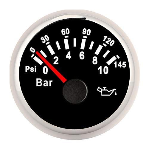 Medidor de presión de Aceite de 24V 12V, 2in 0-10Bar Medidor de presión de Aceite 145psi Instrumento de dial de retroiluminación LED para Auto, Motocicleta, Barco, camión(Black Dial Silver Frame)
