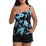 Women Plus Size Tankini Swimsuits Two Piece Womens Bathing Suits Tummy Control Swimwear Top with Boyshort