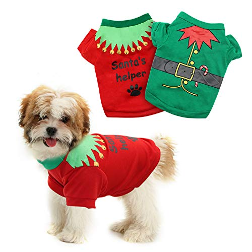 HYLYUN 2 Pack Christmas Dog Shirts - Printed Puppy Shirt Pet T-Shirt Cute Dog Clothing for Small Dogs and Cats Christmas Cosplay Pet Apparel XS