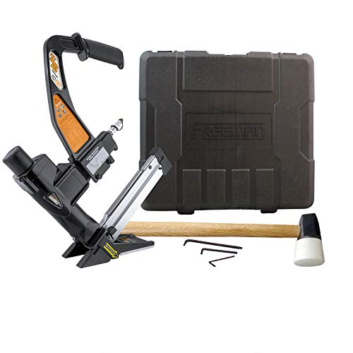 Freeman PFL618BR Pneumatic 3-in-1 15.5-Gauge and 16-Gauge 2' Flooring Nailer and Stapler with Case Ergonomic and Lightweight Nail Gun for Flooring with Padded Grip Long Reach Handle