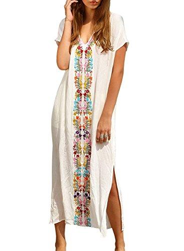 Women's Colorful Cotton Embroidered Turkish Kaftans Beachwear Bikini Cover up Dress (White)