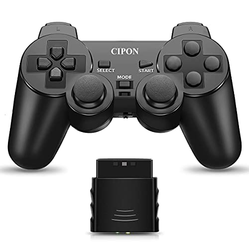 Wireless Controller Compatible with PS2 Console, CIPON 2.4G Double Vibration Control Remote