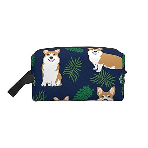 Corgi Tropical Dog Raza Pet Corgis Estuche cosmético azul marino con organizador de brochas organizador de maquillaje, neceser, para pinceles, estuche para lápices, accesorios