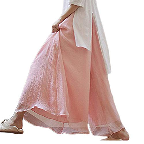 Frauen Hosenrock Solide Chiffon Tie-Taille RüSche Palazzo Langer Rock Hose Culottes Hell-Pink