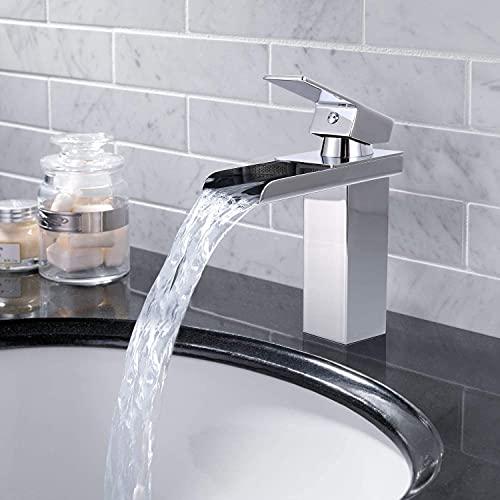 AUTLEAD, Wasserhahn Bad, Waschtischarmatur für Bad, Badarmatur hat Heißes und Kaltes Wasser, Waschbeckenarmatur aus Verchromt und mit geräuscharme Keramische Ventile - AKFS01