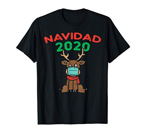 Papa Noel Reno Navidad Mascara Gracioso Cuarentena Regalo Camiseta