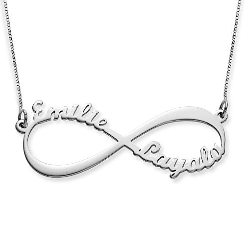 MyNameNecklace Personalised Infinity Couples Name Necklace-Eternal Love Jewellery with 2 Names -Christmas Gift for Mom Girlfriend (10ct White Gold)