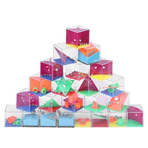 Herefun 24 Stück Geduldsspiele Mini Denkspiel Lernspielzeug, Geduldsspiel Kinder Geschicklichkeitsspiel 3D Spielzeug Mitgebsel Kindergeburtstag, Geschenk für Kinder ab 6 Jahre