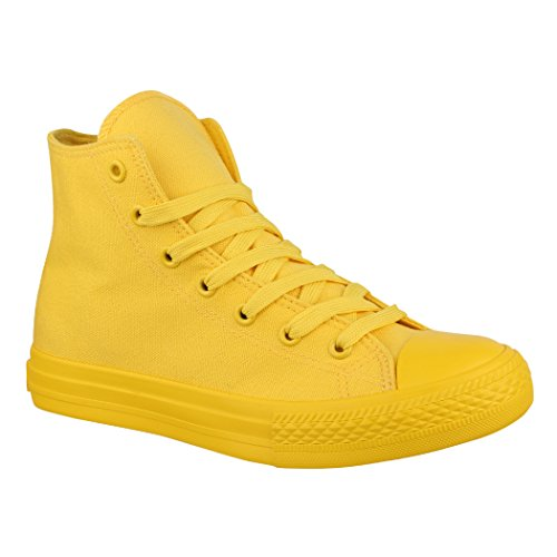Elara Unisex Sneaker Sportschuhe High Top Turnschuh Chunkyrayan B339-B341 Yellow-39