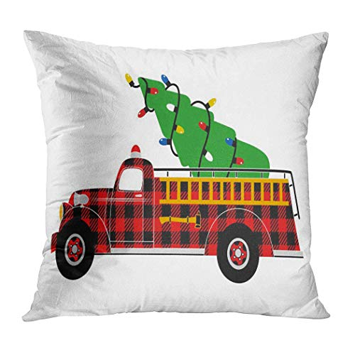 Pamela Hill Throw Pillow Decor Square 20 X 20 Inch Árbol de Navidad y Camión Rojo Buffalo Plaid Fire Engine Super Soft Funda de cojín Decorativo