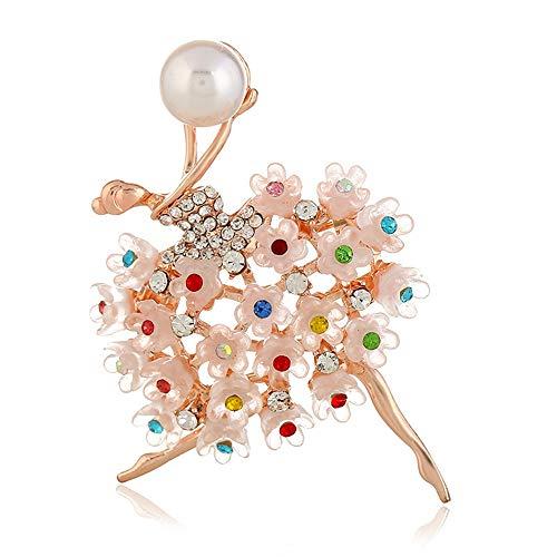 JOMSK Anzüge Kleid Bankett Brosche Extra prickelnde Brosche Pins Kristall Brosche Ballerinas Tänzer Breastpin Bunte Frauen Mädchen Geschenk (Color : Pink, Size : Free Size)