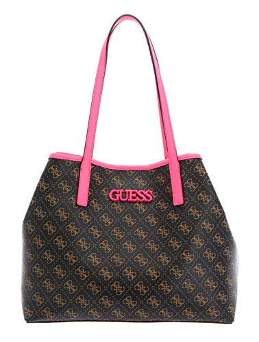 Guess Vikky Tote Brown/Neon Pink