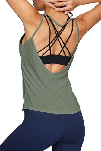 Womens Yoga Tops Sexy Backless Yoga Shirt Open Back Running Activewear Sports Workout Tank Tops product image