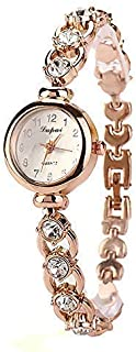 Stylish watch Women's Watch Quartz Wrist Watch with Round Dial Metal Strap Inlaid Rhinestone Bracelet Watch for Elegant Female Office Ladies,Silver Watch (Color : Gold)