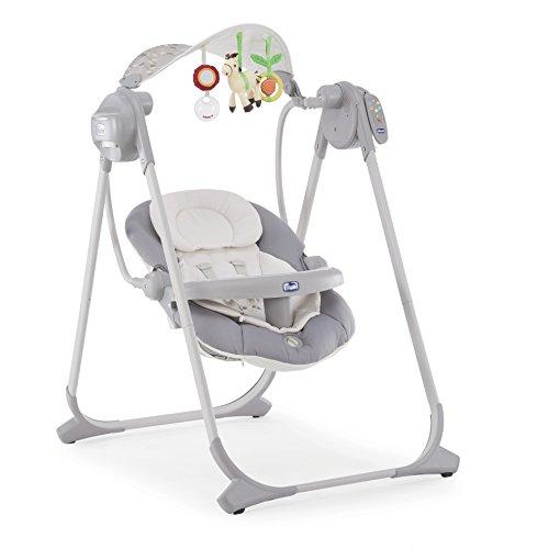 Chicco Polly Swing Up Elektronische Babywippe von Geburt bis 9 Kg, Verstellbare Babyschaukel und Automatische Wippe mit Vibration, Musik und Fernbedienung, mit Kompaktverschluss