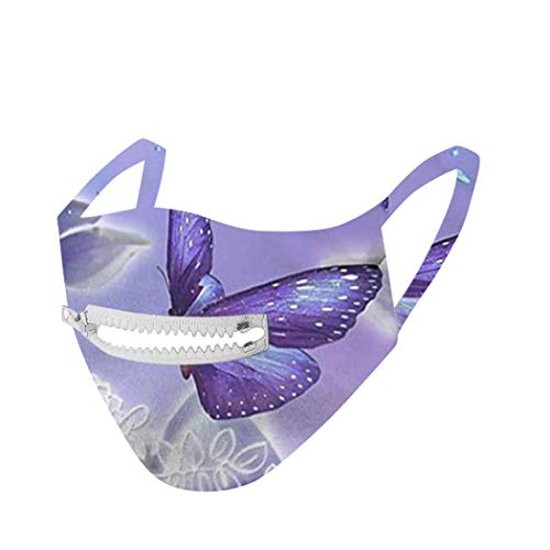 Earent Anti Dust Mouth Covers Reusable and Washable Cotton Covering with Zipper for Straw Health Mouth Shields for Drinking Eating Riding Unisex Outdoor Protection for Women and Men (Purple Butterfly)