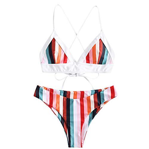 ZAFUL Damen Bunt Gestreift Spaghetti-Träger Cami Criss-Cross Bikini Set Badeanzug Multi-A L