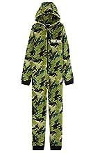 Fortnite Pijama Niño Entero con Capucha, Pijama Mono de Forro Polar, Pijamas Niños Diseño Gamer, Regalos para Niños y Adolescentes 7-14 Años (Camo Verde, 9-10 años, 9_Years)