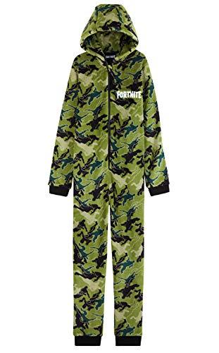 Fortnite Pijama Niño Entero con Capucha, Pijama Mono de Forro Polar, Pijamas Niños Diseño Gamer, Regalos para Niños y Adolescentes 7-14 Años (Camo Verde, 11-12 años, 11_Years)
