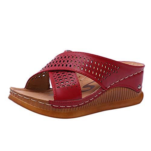 ZMDSGZ Ciabatte Infradito Sandali Pantofole con Fiocco in Raso Moda Moda Casual Slip su Tacchi Alti Piattaforme Spesse Scarpe Pantofole da Esterno-Rosso
