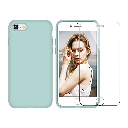 Nupcknn Funda iPhone SE 2020/ iPhone 7 iPhone 8 Silicona Case y Protector Pantalla, Carcasa Silicona Líquida con Forro de Microfibra() (Verde)