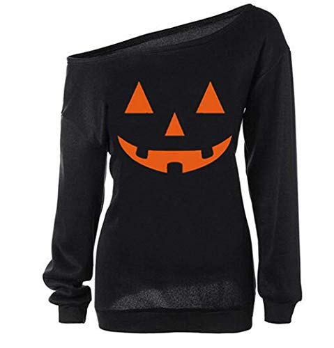 Dutebare Women Halloween Pumpkin Shirt Off Shoulder Sweatshirt Slouchy Long Sleeve Pullover Tops Black C XL