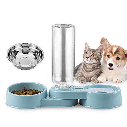 Ciotola per Gatti e Ciotola per Cani con Distributore Automatico di Acqua, Ciotola e Bollitore in Acciaio Inox, Rimovibile, Adatto per Ciotola per gatti e Cuccioli.
