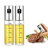 Olive Oil Sprayer Bottle, Oil Spray Bottle Versatile Glass for Cooking, Baking, Roasting, BBQ, Salad, Kitchen Baking, Roasting, Frying (2 PCs) 100ml
