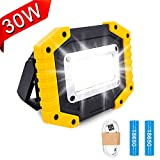 Lambony LED Rechargeable Work Lights, 30W Floodlight Battery Security Light with 3 Modes
