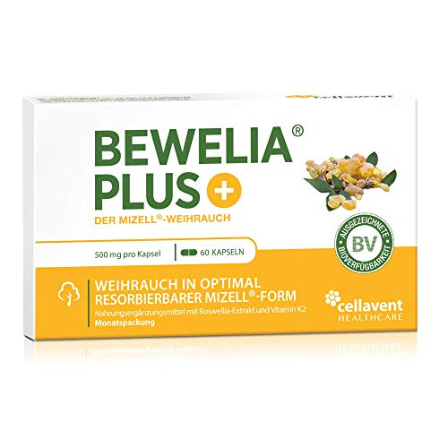 Weihrauch Kapseln von Bewelia PLUS mit 500 mg & 250 mg AKBA - mizellares Weihrauch mit max. Bioverfügbarkeit, 60 Kapseln