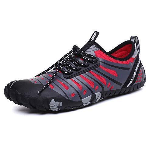 HWHSZ Zapatos de Agua Pareja Cinco Dedos Senderismo Nadar Zapatos De Playa Snorkel La Textura Liviana Le Brinda Una Experiencia De Uso CóModa,Red-XXL