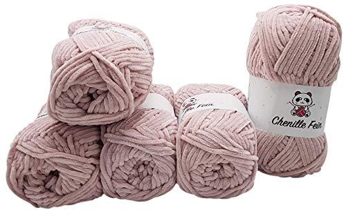 Ilkadim 5 x 100 Gramm Chenille Fine Strickwolle, Babywolle, 500 Gramm Wolle Super Bulky (Blush 300-24)