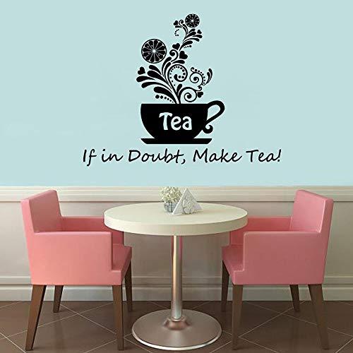 Blrpbc Adhesivos Pared Pegatinas de Pared Frase de té Floral en Caso de Duda, Haga una Taza de té, Cocina, café, hogar, Comedor, decoración, Vinilo, Pegatina 53x42cm