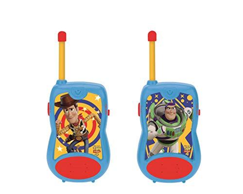 Lexibook Toy Story 4-Walkie talkies de Woody & Buzz, Rango de transmisión 100m, Pinza para Colgar del cinturón, Azul, Azul/Rojo-TW12TS, Color Rojo