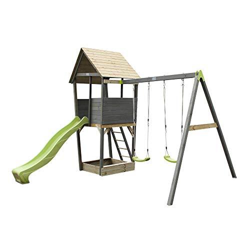EXIT Aksent Holzspielturm mit 2-sitziger Schaukel- grau