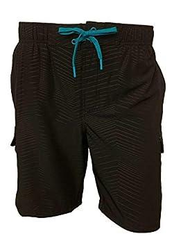 ZeroXposur Mens Axed 4 Way Stretch Board Short Swim Trunk Swimwear Black Chrome 1X-Large