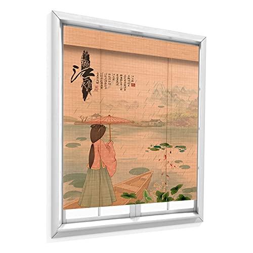 QIANDA Persiana De Bambú,Habitación Oscurecimiento Persianas Enrollables, Protección UV Filtrado De Luz Intimidad Cubrir, Usado para Pérgola Balcón Jardín, 2 Colores (Color : B, Size : 90X220cm)