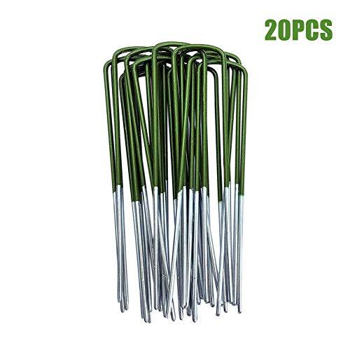 YUOKI99 Rasenstift 150x25x3mm Starker U-förmiger universeller verzinkter Hochleistungs-ßeneinsatz aus verzinktem Ende mit abgeschrägten Gartenstiften Halbgrüner Kunstrasen-Rasenbefestigung(20 Stück)