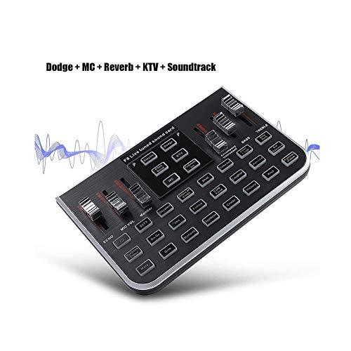 Audio Mixer DJ Sound Mixer, USB digitale externe geluidskaart mengconsole met 4 varianten tonen voor pc, live opname, Home KTV, Karaoke, Voice Chat